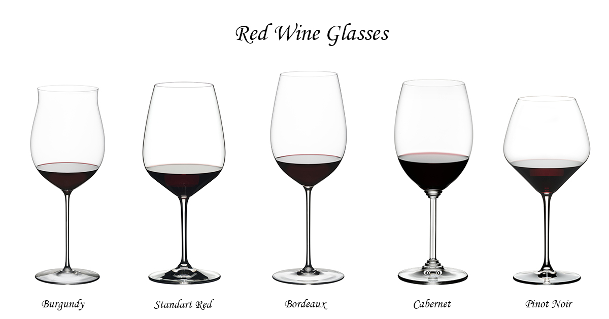 Red wine glasses with stem