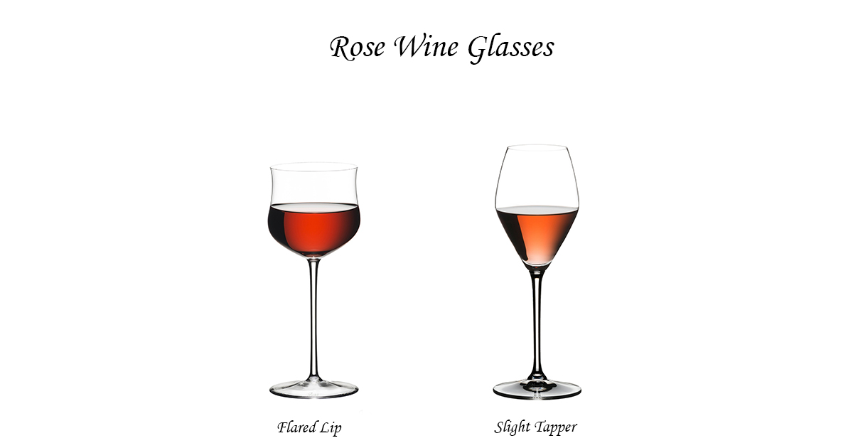 Rose wine glasses with stem