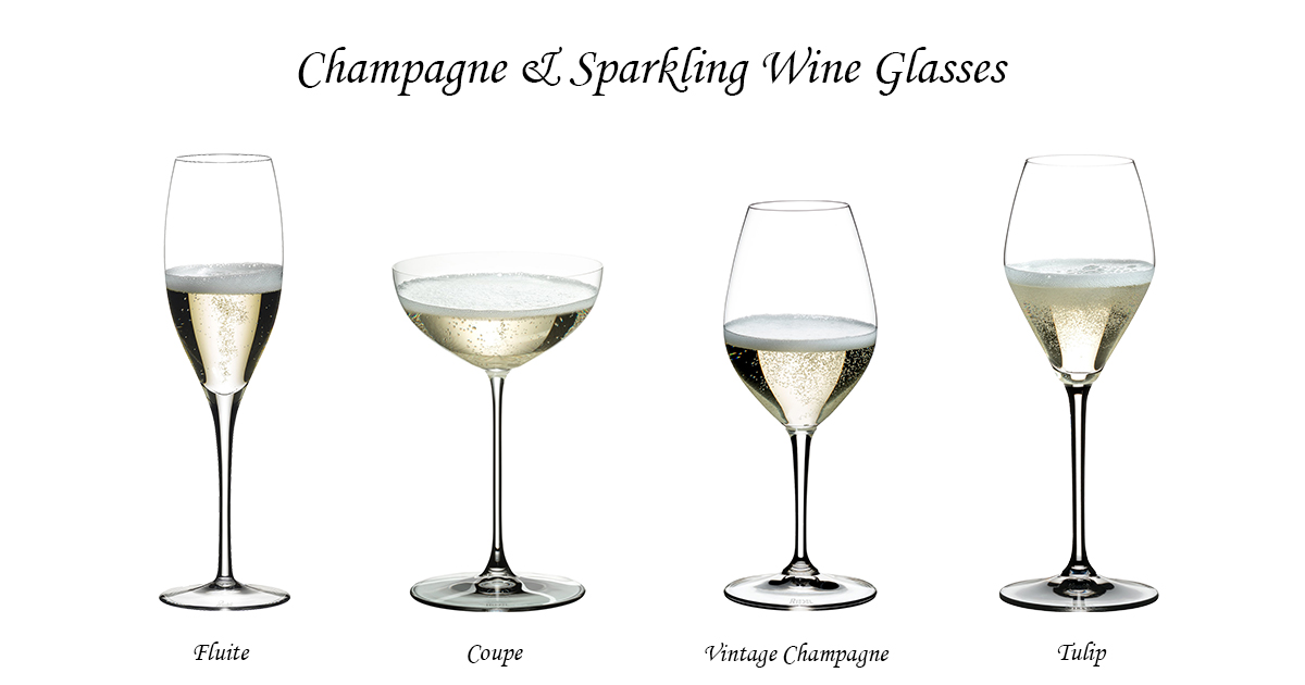 Sparkling wine glasses with stem