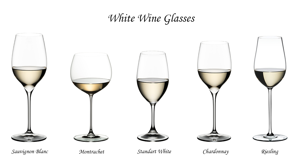 White wine glasses with stem